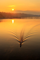 Sangklaburi (Noom HH) Tags: life travel people sunrise river landscape thailand boat line thai mon fishingboats woodenbridge kanchanaburi sangklaburi