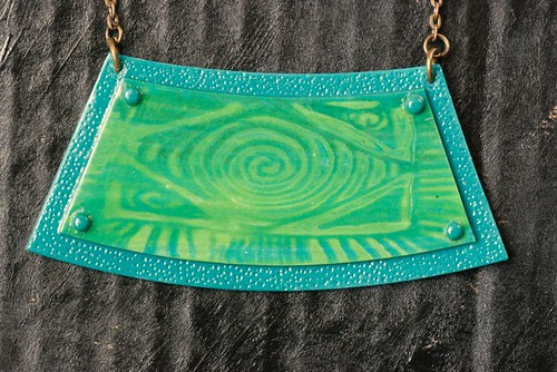 Tribal style green shades necklace