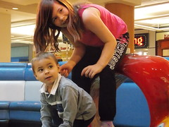Angelyna and Alex (Marina A. Miller) Tags: baby alex rain marina mall shopping fun day play rainy burnaby meredith brentwood angelyna tarya