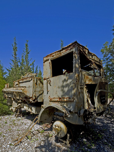 Rusting truck in the Peace and Freedom museum Alsancak Northern Cyprusfrom the 74 conflict