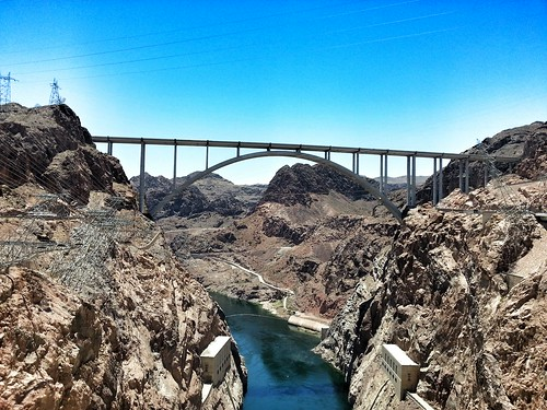Memorial bridge across Colorado river at Hoover Dam