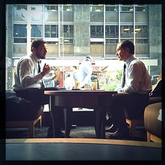 Business people (Martin Bolomey) Tags: people coffee argentina colors square buenosaires starbucks squareformat talking iphoneography instagram instagramapp uploaded:by=instagram foursquare:venue=4b4615aff964a520de1526e3