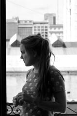 mar (Nowhere land♪) Tags: city urban blackandwhite bw woman blancoynegro girl look mujer chica perfil balcony profile thoughtful ciudad bn figure urbano ponytail mirada balcón figura pensativa