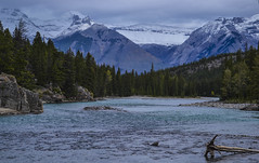 Bow Falls Backdrop. (davebelyea) Tags: snow canada mountains clouds river rockies rocks waterfalls alberta banff bowfalls banffalberta