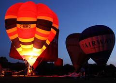Tiverton Balloon Festival 2013 - Nightglow (out in the sticks) Tags: sunset summer sky orange festival basket dusk devon hotairballoon dslr burners gloaming tiverton nightglow 2013 canoneos50d tivertonballoonfestival