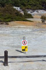 Danger of Collapsing into the Earth (Emily Miller Kauai) Tags: newzealand sign danger warning northisland wonderland geothermal thermal waiotapu
