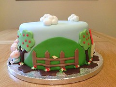 Peppa Pig Cake (Noo & Moo's Cakes) Tags: birthday blue trees green girl cake clouds pig chocolate decorating icing puddles muddy baloons peppa fondant