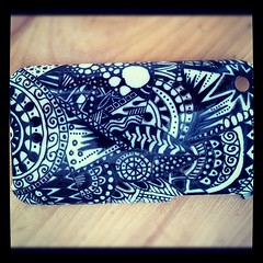 Iphone Case (HuakeaSyd) Tags: blackandwhite white black art drawing drawings artsy doodle doodles phonecase zentangle zentangles