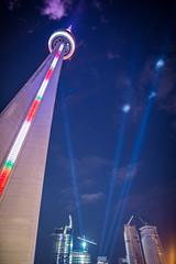 Towers of Light (WherezJeff) Tags: light toronto tower night cn december spot rays