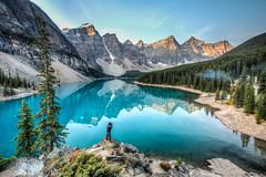 Shooting on the Top  (Sharleen Chao) Tags: travel people lake canada reflection green fall water sunrise rockies glacier peaks hdr moraine banffnationalpark morainelake      highangelview wenkchemnaglcier