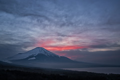 Message of Rouge (Yuga Kurita) Tags: blue winter sunset red sky lake cold night rouge fuji sundown dusk mount mountfuji fujisan 雲 夕景 富士山 mtfuji fujiyama 山中湖 yamanakako 富士 染まる ルージュ