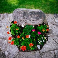 Ingmar Bergman's Grave (Linus Wärn) Tags: leica flowers cinema film grave sweden headstone swedish movies fårö ingmarbergman