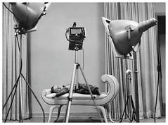 Tired Little Model (Garry9600) Tags: blackandwhite canada monochrome vintage bench studio model child manitoba selkirk