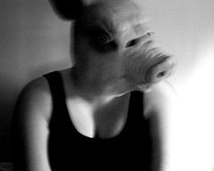 Self Portrait (AliceLydia) Tags: portrait self photography pig mask surreal edits