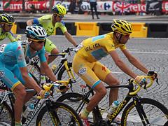 Vincenzo Nibali winning the 101st Tour de France (DaveKav) Tags: paris bike yellow italian cyclist tour champion winner tourdefrance yellowjersey vincenzo champslyses nibali
