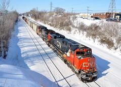 CN 2288 & CN 2162 (Michael Berry Railfan) Tags: winter snow cn train quebec montreal ge lachine dash8 generalelectric canadiannational freighttrain gevo dash840cw cn430 montrealsub cn2288 cn2162