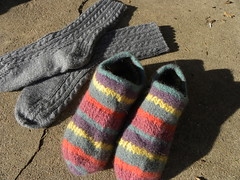 Socks and Slippers (MadKnits) Tags: wool socks felted knitting felting handmade stripes knit felt yarn slippers striped