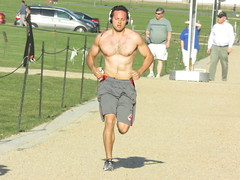 IMG_0737 (FOTOSinDC) Tags: shirtless hairy man muscles back arms arm legs candid chest leg handsome running sweaty sweat guns jogging runner jogger