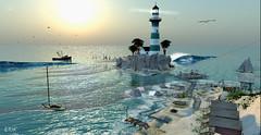 Blue Morning (erikmofanui) Tags: ocean blue sea sun lighthouse water colors beautiful landscape boats outdoors gulls secondlife secondlifelandscape