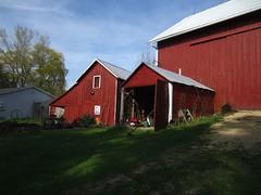 Study in Red (AmyEAnderson) Tags: roof red window wisconsin barn rural shadows garage barns storage historic sunlit roofline planks sauk bucolic