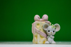A Mouse with a Cheesy Gift (Ren Verse) Tags: cute green cheese mouse photography nikon little gift figurine nikond3200 greenbackground