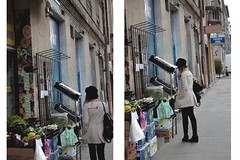 andr (ConcreteLies) Tags: green girl vegetables hat shop female bag diptych jacket customer andr