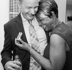 (heatherbirdtx) Tags: wedding portrait people blackandwhite groom bride message expression candid interior flash reception jenga happywifehappylife
