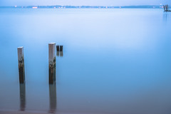 The Delaware River On A Misty, Rainy Blue Day (lgloeck) Tags: wood blue water rain misty fog river relax twilight foggy rainy serene delaware posts pennsville
