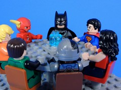 Justice League Meeting (MrKjito) Tags: green comics justice dc lego flash meeting superman wonderwoman batman lantern minifig cyborg universe league aquaman