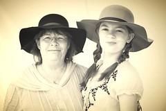 Mother and Daughter (wyojones) Tags: camp woman girl smile hat glasses texas expression mother houston pioneer frontier reenactor texan deerpark civilians daughte texican sanjacintoday rindependence sanjacintobattlefieldstatehistoricalpark sanjacintobattlereenactment