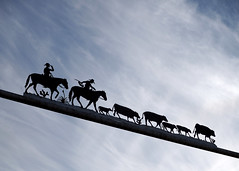 West (happiness is...photography) Tags: ranch blue sky horses west silhouette metal clouds texas