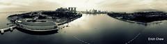 Aerial Panorama  of Marina Barrage Reservoir (Erich Chew) Tags: singapore kap kiteaerialphotography marinabay marinabarrage canons95 skyrigsmkv 10ftdiyredrokkaku wwkap2016