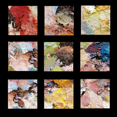 Palette Grid (Martin Beek) Tags: abstract hot colour painting design paint artist nine oil tone palette