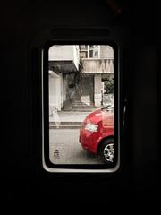 Buses in the City 04 (Zlatko Parmakovski) Tags: skopje  macedonia  bus red car window street negativespace htc