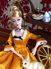 Tea and kitties (*SquishTish*) Tags: cat miniatures doll dress tea furniture handmade convention cameo mattel articulated pivotal silkstone teacart conventiondoll squishtish littleenchantedworld