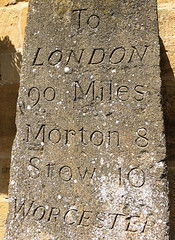 90 Miles to London (tmvissers) Tags: uk england broadway cotswolds miles worcestershire signpost 90 stow moreton milepost