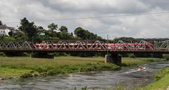 Crossing... (Zaphod Beeblebrox 1970) Tags: bridge train river boat railway zug nrw sbahn fluss bahn ruhr ruhrgebiet hattingen eisenbahnbrcke ruhrtal
