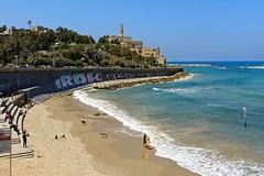 Jaffa / View from Homat HaYam Promenade (Pantchoa) Tags: telaviv jaffa homathayam promenade cte mer mditerrane rivage borddemervaguesplagesablegraffitisvillenikond71001685 chiens glise saintpierre vieuxjaffa eau digue moyenorient