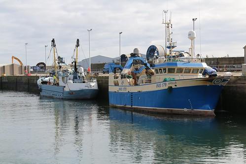 21st April 2016. TN37 Philomena and INS179 Apollo in Peterhead Harbour, Aberdeenshire, Scotland