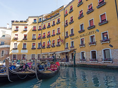 Hotel Cavalletto (Nigel Wallace1) Tags: venice red italy plants holiday water buildings hotel boat jetty olympus tourists explore gondola