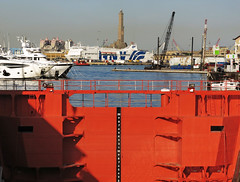numbers in port (ludi_ste) Tags: lighthouse port faro boats harbour barche genoa genova porto numbers lanterna numeri traghetti battelli