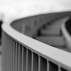 Deadman's Curve (No Great Hurry) Tags: urban blackandwhite abstract pool monochrome metal stairs mono highway dof noiretblanc steps architectural depthoffield swimmingpool curve railings zigzag bnw stratford 2012 eastlondon leadinglines aquadome robinbarr nogreathurry robinmauricebarr