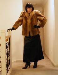 Black Encounter (7) (Furre Ausse) Tags: red black leather fur belt dress boots coat skirt jacket gloves fox satin dominant governess
