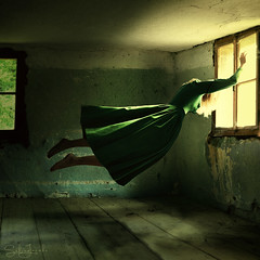 Of Hope and Despair - Two (Sabine Jacobs Photography) Tags: fineart surreal surrealism sabinejacobs strength fantasy fairytale conceptual abandoned house despair sadness sad woman girl dress window light hope closed wood locked freedom freeing flying levitation
