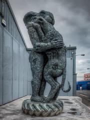 Lady Hare Holding Dog (mobilevirgin) Tags: sculpture art liverpool fuji hdr x30 sophieryder ladyhareholdingdog
