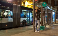 Midnight cigarette (BeWePa) Tags: street paris france bus night candid sony mount stop alpha a7 ultron alpha7 icarex ilce7