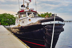 Tug Boat (FunkadelicSam) Tags: ocean old blue sky color water clouds marina vintage harbor still ship florida sony punta gorda
