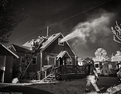 Working The Fire (mjardeen) Tags: blackandwhite bw white house black truck ir fire washington nikon conversion hose firetruck fireman infrared wa converted tacoma firemen 24mm nm nikkor 28 lifepixel spragueave niksilverefex nikon24mm28nikkor