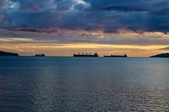 IMG_5763 English Bay Sunset (anthonymaw) Tags: ocean sunset sea weather vancouver landscape ships