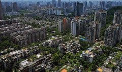 Chongqing from 30th floor (Slonya) Tags: trees panorama green skyline architecture buildings high view floor pano 30th chongqing sonya3000